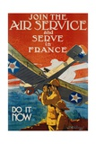 Join the Air Service and Serve in France Recruiting Poster Giclee Print by J. Paul Verrees