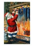 Postcard of Santa Filling Christmas Stockings Giclee Print