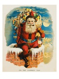 On the Chimney Top Book of Santa Claus Reproduction procédé giclée