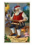 A Merry Christmas with Santa in His Workshop Giclee Print