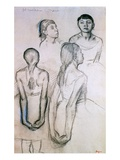 Four Studies of Dancers Giclee Print by Edgar Degas