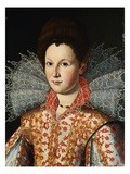 Portrait of a Lady, Bust Length, Wearing an Embroidered Dress with Lace Ruff Collar Giclee Print by  Studio of Santi di Tito
