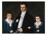 Portrait de John Jacob Anderson et de ses fils, Edward et William Impression giclée par Joshua Johnson