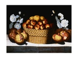 Apples in a Wicker Basket, Pommegrannates and Hollyhocks on a Draped Ledge Giclee Print by Blas de Ledesma