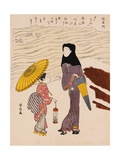 Chuban Tate-e a Beauty in a Black Hood and a Young Girl Holding an Umbrella Giclee Print by Harunobu Harunobu