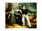 Group Portrait of Robert, James and Mary Sarah Greenhalgh Giclee Print by Ramsay Richard Reinagle