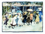 Watercolor of Girls Walking Along the Boardwalk by Maurice Brazil Prendergast Giclee Print by Geoffrey Clements