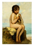 Nude Child with Dove Giclee Print by Leon Jean Bazile Perrault