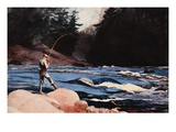 Man Fishing a New England Stream by Winslow Homer Giclee Print by Geoffrey Clements