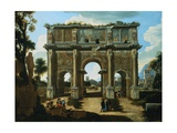 A View of the Arch of Constantine, Rome, with Figures Giclee Print by Niccolo Viviano Codazzi