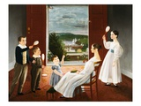 Colonial American Painting of a Family at Play Giclee Print by Geoffrey Clements