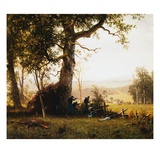 Union Soldiers Fighting in the Field by Albert Bierstadt Giclee Print by Geoffrey Clements