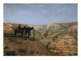 Cowboys in the Badlands Premium Giclee Print by Thomas Cowperthwait Eakins