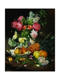 Painting of Roses in a Vase, Pears in a Porcelain Bowl and Fruit on an Oak Table Giclee Print