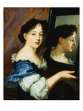 Portrait of a Lady, Half Length, Holding a Mirror Giclee Print by Nicolas Mignard