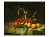 A Basket of Strawberries with Peaches on a Stone Ledge Giclee Print by William Hammer