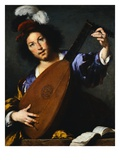 Italian Baroque Painting of Lute Player Giclee Print by Geoffrey Clements