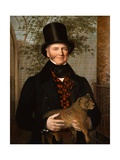 Portrait of Edward Cross Holding a Lion Cub Giclee Print by Jacques-Laurent Agasse