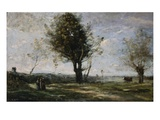 La Rencontre au Bord du Chemin Giclee Print by Jean-Baptiste-Camille Corot