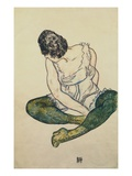 Seated Woman with Green Stockings Giclee Print by Egon Schiele