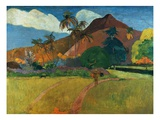 Tahitian Mountains Gicléetryck av Paul Gauguin