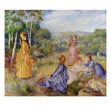 Girls Playing Battledore and Shuttlecock Giclee Print by Pierre-Auguste Renoir