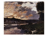 Seine at Bougival, Evening Giclee Print by Claude Monet
