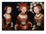 The Princesses Sibylla, Emilia, and Sidonia of Saxony Giclee Print by Lucas Cranach the Elder