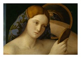 Detail of Young Woman with a Mirror Giclee Print by Giovanni Bellini