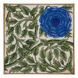 Blue Flower Watercolor Tile Design by William de Morgan Giclee Print by  Stapleton Collection