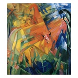 Animals in a Landscape Giclee Print by Franz Marc