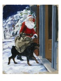 Carl Helping Santa Claus from Carl's Christmas Giclee Print by Alexandra Day