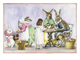 Illustration of a Girl Decorating Eggs with Giant Rabbit Family by Alexandra Day Giclee Print by Alexandra Day