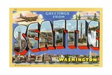 Greetings from Seattle, Washington Postcard Giclee Print