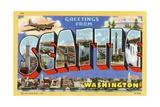 Greetings from Seattle, Washington Postcard Giclee Print