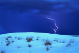 Lightening above White Sand Dune Photographic Print by Catherine Karnow