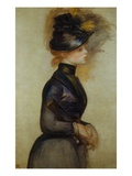 Young Woman in Blue Going to the Conservatory Giclee Print by Pierre-Auguste Renoir