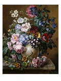 A Vase of Flowers on a Ledge Giclee Print by Camille de Chantereine
