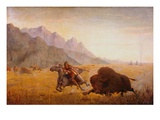 The Buffalo Hunter Reproduction procédé giclée par Seth Eastman