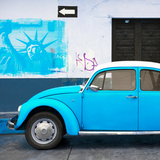 ¡Viva Mexico! Square Collection - Blue VW Beetle Car and American Graffiti Photographic Print by Philippe Hugonnard
