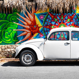 ¡Viva Mexico! Square Collection - White VW Beetle Car in Cancun Photographic Print by Philippe Hugonnard