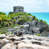 ¡Viva Mexico! Square Collection - Tulum Ruins along Caribbean Coastline with Iguana III Photographic Print by Philippe Hugonnard