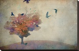 Oversized Crows Flying from Tree Stretched Canvas Print by Mia Friedrich