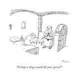 """Perhaps a dirge would lift your spirits"" - New Yorker Cartoon Regular Giclee Print by Zachary Kanin"
