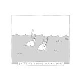 TITLE: Dolphins Coming Up For A Smoke Two dolphins smoking cigarettes. - New Yorker Cartoon Premium Giclee Print by Liana Finck