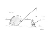 Giant fish attempting to bait oblivious ice fisher. - New Yorker Cartoon Premium Giclee Print by Liza Donnelly
