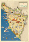 Toscana (Tuscany)- Vintage Tourist Map Posters