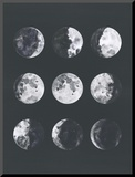 Moon Phases Watercolor Ii Mounted Print by Samantha Ranlet