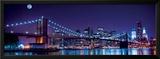 Brooklyn Bridge and Manhattan Skyline with a Full Moon Overhead-New York Prints by  Littleny