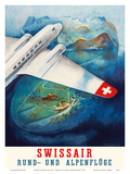 Flights around the Alps (Rund-und Apenfluge) - Swissair Prints by Eugene Häfelfinger